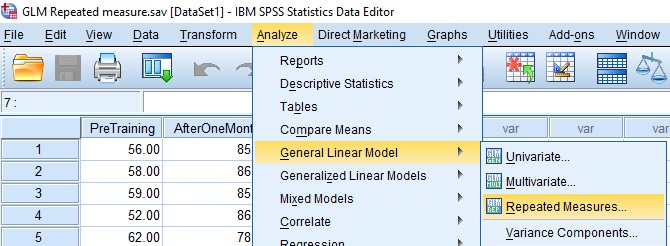 GLM repeated measures