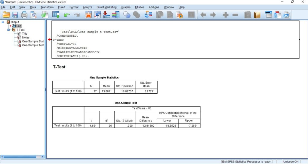 One Simple T Test in SPSS