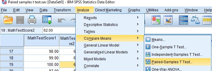 Paired Sample T Test in SPSS
