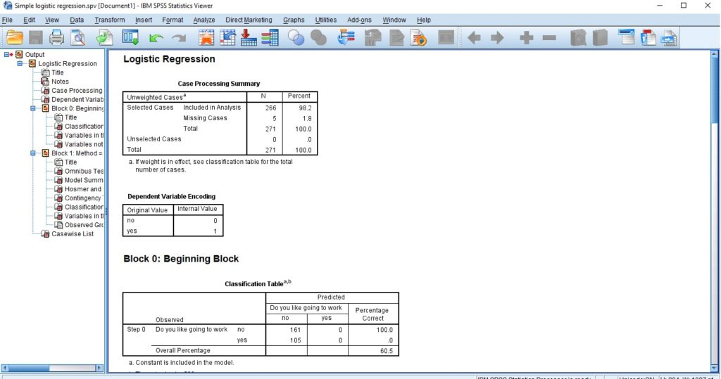 Simple logistic regression SPSS