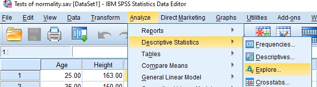 Normality Test in SPSS menu