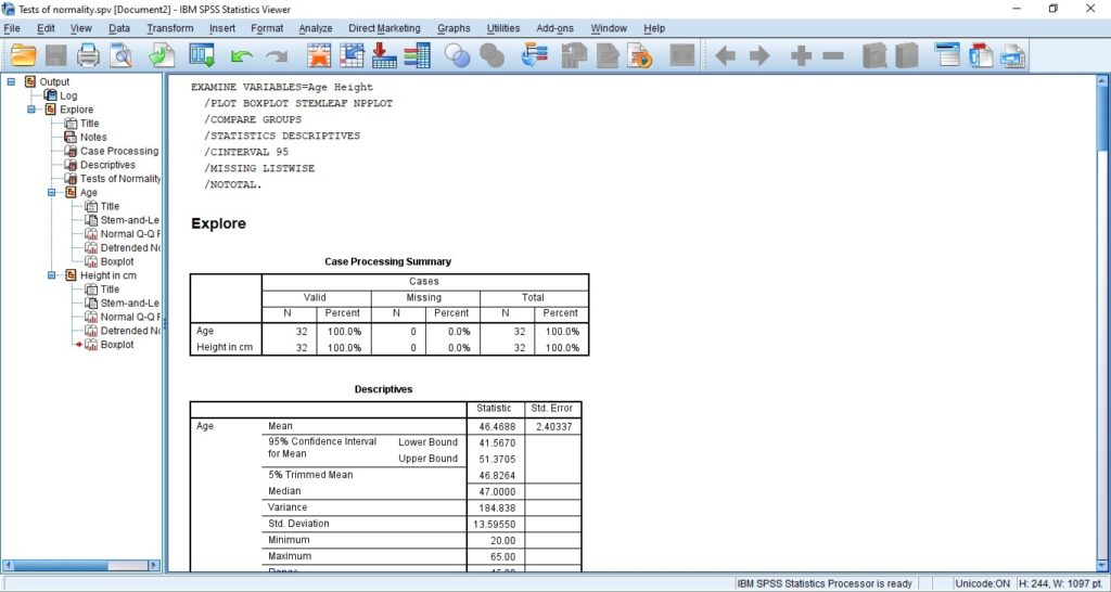 SPSS Output for Normality Test